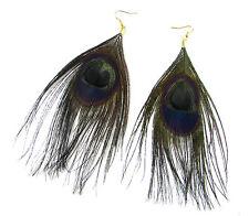 Black & Gold Peacock Feather Earrings Drop Long Big Vintage Hook Boho Dangle 6AG