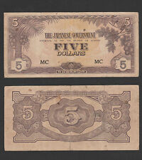 "B : Malaya Japanese Occupation 5 Dollars  Prefix ""MC"" - VF"
