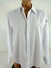 BLUE PRONTO UOMO MENS WHITE & BLUE EMBROIDERED DRESS SHIRT SIZE L 16.5/34