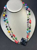 Vintage Colorful Bohemian Chip Stone Beaded Bib 2 Strand Statement Necklace 18""