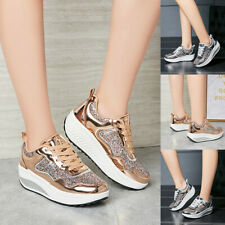 Fashion Women's Bling Lace Up Increasing Sport Running Sneakers Shoes Size