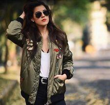 Zara Khaki Bomber Jacket Patches Badges Over sized Size Med UK 10/12