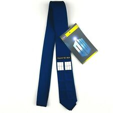 Officially Licensed BBC Doctor Who Classic TARDIS Tie Blue Skinny Necktie