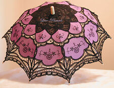Black & Purple Battenburg Lace Parasol - Gothic!