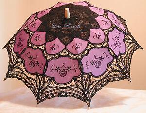 Black & Purple Battenburg Lace Parasol - Gothic!