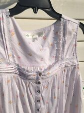 NEW Eileen West Rose  Floral Print Cotton Sleeveless Chemise Gown Large L