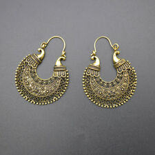 African Tribal Gypsy Antique Silver Gold Chandelier Hoop Earrings Carved Hollow
