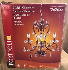 "16"" Portfolio Lighting 3 Light chandelier rust finish fixture 262687 crystal new"