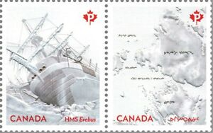 HMS EREBUS = FRANKLIN EXPEDITION = Embossed MS Pair MNH Canada 2015 #2852a