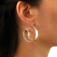 Large Yin and Yang 925 Sterling Silver Circle Hoop Earrings