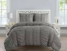 Vcny Home Holly Silver Ruched Full Queen Duvet Cover/Shams Set Nwop