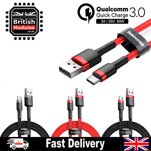 Baseus Braided USB Type C QC 3.0 Fast Charging Cable 2M Cord 3A Quick Charger