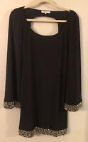 Women's ARDEN B black, open back, long sleeve tunic top blouse gold bling Small