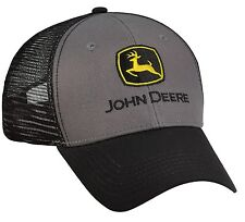 NEW John Deere Gray Front, Black Visor and Mesh Cap LP53246