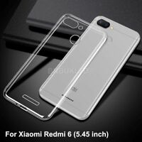 For Xiaomi Redmi 6 Case Clear Slim Gel Cover & Glass Screen Protector