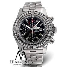 Breitling Super Avenger A13370 Black Dial Diamond Bezel Authentic Watch