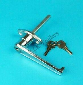L Handle Door Lock & 2 Keys ZINC PLATED for Trailer & Horse Box Caravan