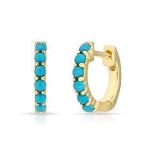 Anne Sisteron 14k Yellow Gold Katrina Turquoise Huggie Earrings