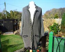 PINKO kaban jacquard arma woven duster coat ~ UK 12 ~ khaki white black