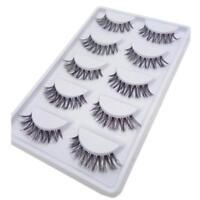 5 Pairs Lot Black Cross False Eyelash Soft Long Makeup Eye Lashes Extension JS