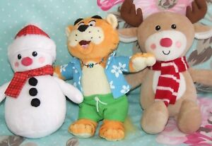 Bundle 3 Soft Plush Toys Little Town Snowman Reindeer Rory Tiger Haven Holidays