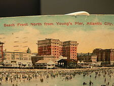 1910 Postcard Beach Front North from Young's Pier Crowd Lineup Atlantic City NJ