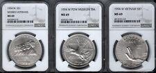1994-W  3 PC VETERANS SET - VIETNAM - POW - WOMEN VETS  silver $1 - NGC  -  MS69
