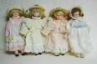 """Porcelain Dolls Set of 4 Pink-Peach-Yellow-White 8"""" Tall 3 In Straw Hats"""