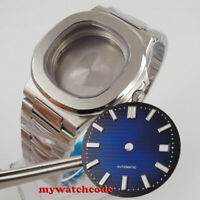 square 40mm steel solid Watch Case blue dial (case+bracelet +dial) fit eta 2824
