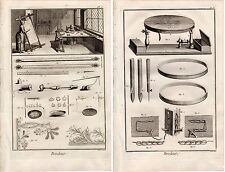 TWO Diderot 1763 Antique Folio Engravings: EMBROIDERY NEEDLEWORK WORKSHOP TOOLS