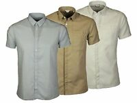 MENS JACK & JONES SLIM FIT CASUAL SHIRT COLLARED SHORT SLEEVE WHITE TAUPE BLUE