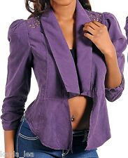Purple Micro Suede Cropped Bolero/Shrug/Cover-Up Jacket S/M/L *4 Colors*