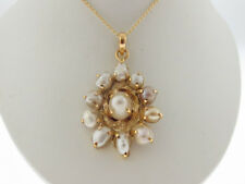 """Vintage Estate Freshwater Pearls Solid 14k Yellow Gold Pendant 18"""" Necklace"""