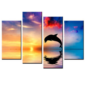 HD Canvas Art Prints Picture Dolphin Wall Painting Art Home Decor 4pcs-No Frame