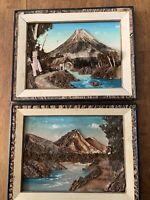 "Set of 2 / 3D JAPANESE BARK ART PAINTING FRAMED 16"" x 12.5"" LANDSCAPE MOUNTAINS"