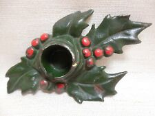 Antique Signed Gvg & Dated 5/17/21 Cast Iron Holly Berry Taper Candle Holder