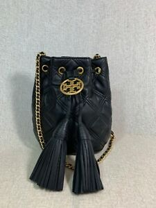 NEW Tory Burch Black Fleming Soft Mini Bucket Bag $348