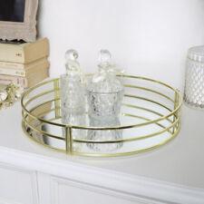 Round Gold Mirrored Tray art deco vintage home decor wedding storage glamorous