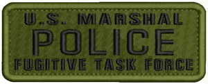 U.S. MARSHAL POLICE FUGITIVE TASK FORCE Embroidery Patch 2x5 hook on back od/blk