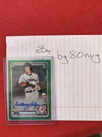 Anthony Volpe 2020 Bowman Chrome Green Shimmer Refractor Auto /99 Yankees