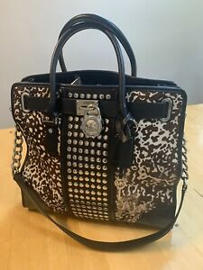 MK Michael Kors Black Hamilton Studded Leather & Calf Hair Tote/Habdbag. RRP£565
