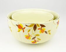 Hall China Autumn Leaf Pattern Nested Nesting Mixing Serving Bowl Dishes Pair of
