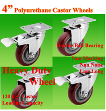 "4"" (100mm) Heavy Duty Castor Wheels,4 Swivels (2 with Brake),Trolley Bench Table"