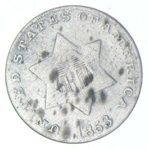 RARE Silver Trime 1853 Three Cent Silver 3 Cent Early US Coin Look it up! *003