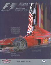 2000 Formula-1 USGP Program Limited Edition F-1 Indy Indianapolis Motor Speedway