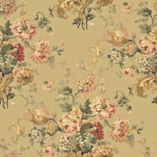 Dollhouse Miniature Computer Printed Fabric Tan Brown Floral