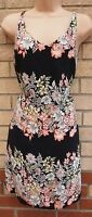 FLORENCE & FRED BLACK PEACHY PINK STRIPE FLORAL SLIP TUNIC SUMMER DRESS 8 S