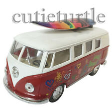 Kinsmart 1962 VW Volkswagen Classic Bus 1:32 Peace Love with Surfboard Burgudy