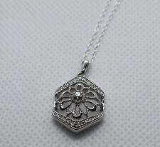 Sterling Silver .925 Diamond Flower Filigree Pendant & Chain- NEW