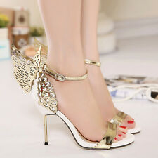 NEW Ladies Stiletto High Heels Butterfly Ankle Strap Sandals Party-Wedding Shoes
